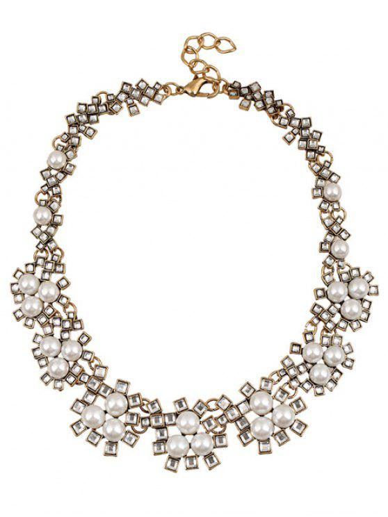 womens Faux Crystal Pearl Wedding Necklace Jewelry - WHITE