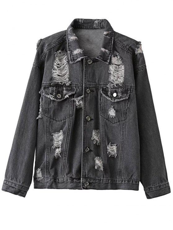 trendy Distressed Denim Jacket - BLACK S