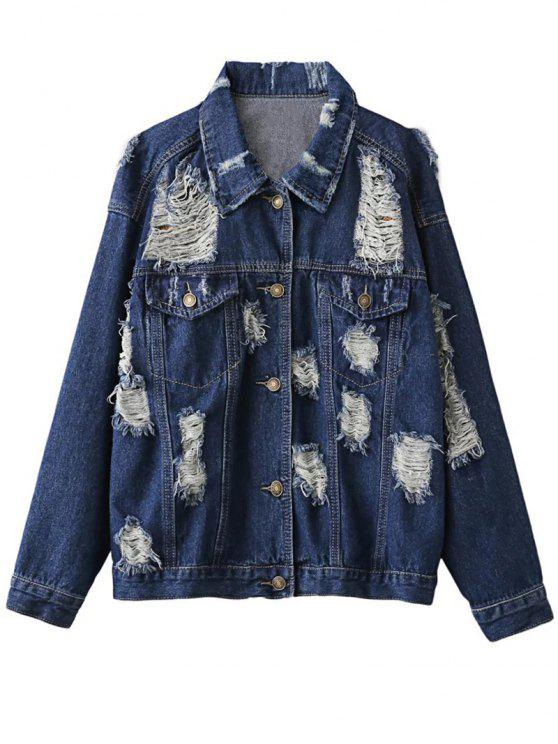 chic Distressed Denim Jacket - PURPLISH BLUE S