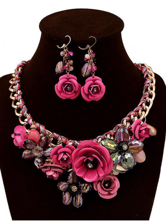 Juego de joyería de imitación de cristal tejido de la flor - Rose loco