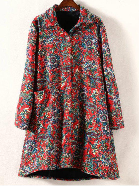 sale Retro Print Plus Size Fleece Coat - RED 4XL