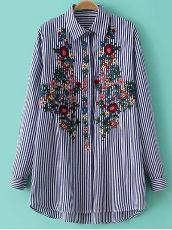 lady Striped Floral Embroidered Collared Shirt - STRIPE L