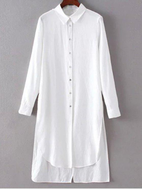 trendy High Low Single-Breasted Tunic Shirt Dress - WHITE L