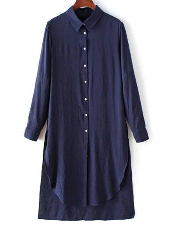 womens High Low Single-Breasted Tunic Shirt Dress - PURPLISH BLUE S