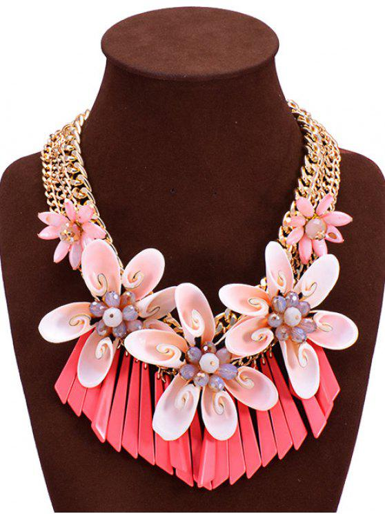 trendy Faux Crystal Shell Flower Necklace - RED