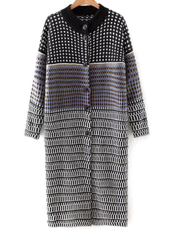 womens Checked Single-Breasted Cardigan - COLORMIX ONE SIZE
