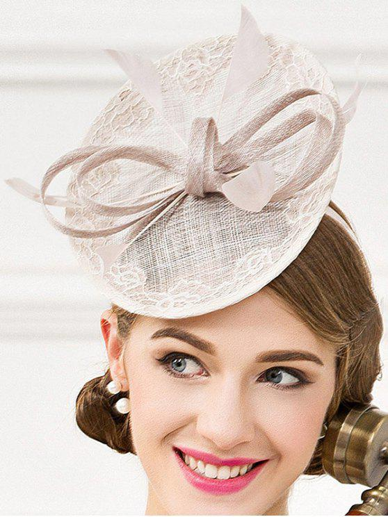 shop Fascinator Bowknot Feather Wedding Tea Party Cocktails Hat - SILVER GRAY