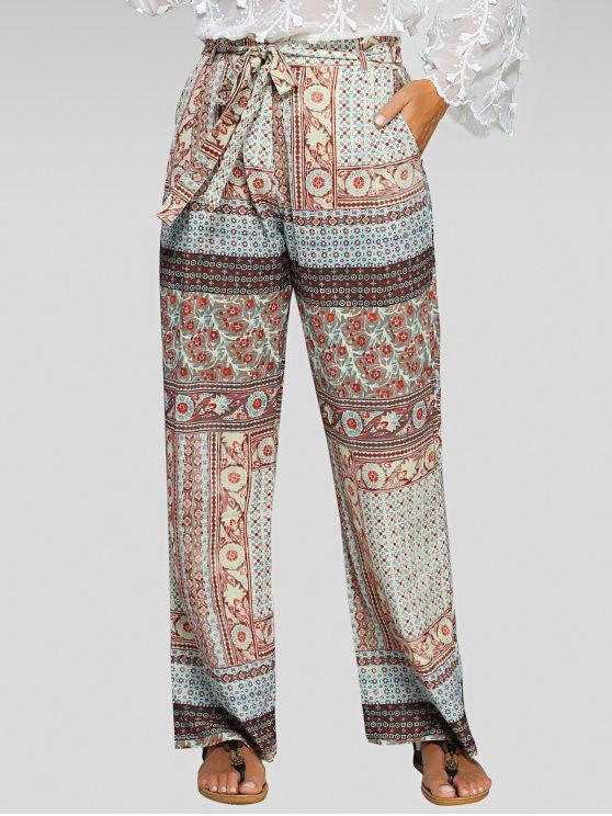 Impreso con cinturón de los pantalones Palazzo - Colores Mezclados M