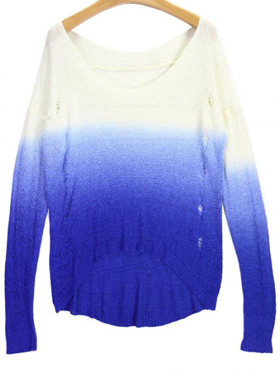 best Ombre V Neck High Low Ripped Sweater - BLUE AND WHITE ONE SIZE