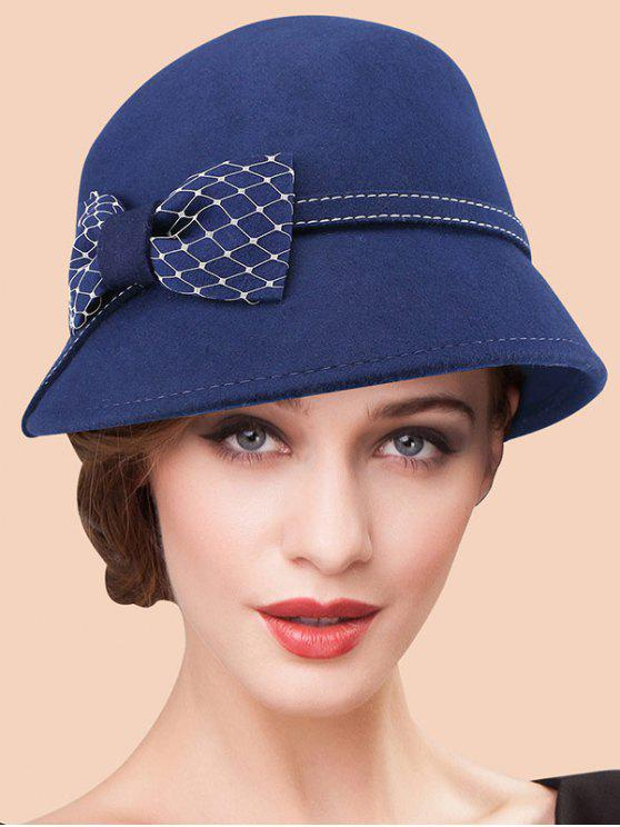 latest Winter Bowknot Wool 20s Felt Fedora Hat - SAPPHIRE BLUE
