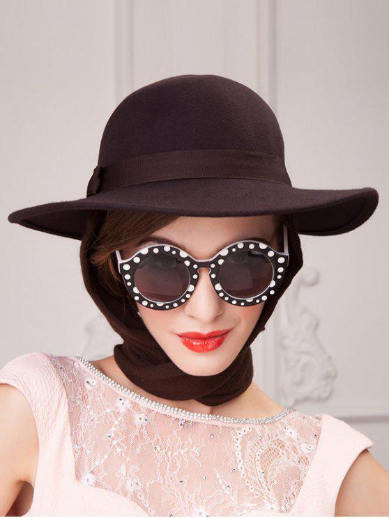 fashion Wide Brim Wool Felt Bowknot Strappy With Scarf Fedora Hat - COFFEE