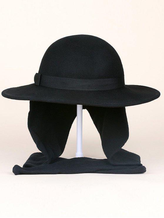 chic Wide Brim Wool Felt Bowknot Strappy With Scarf Fedora Hat - BLACK