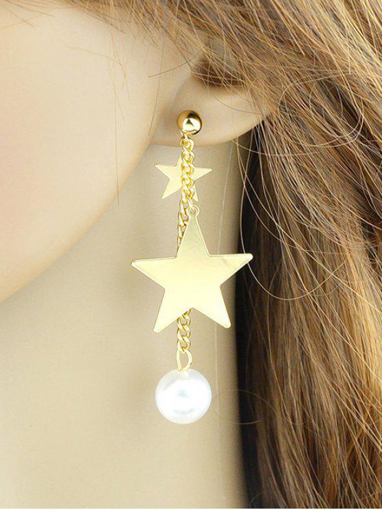 fancy Chain Layered Faux Pearl Pentagram Earrings - GOLDEN
