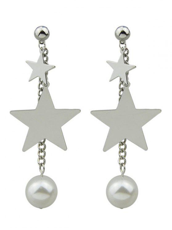 unique Chain Layered Faux Pearl Pentagram Earrings - SILVER