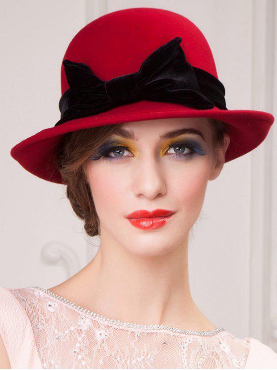 2019 Wide Brim Wool Felt Big Bowknot Fedora Hat In RED  a2ff4344dbe