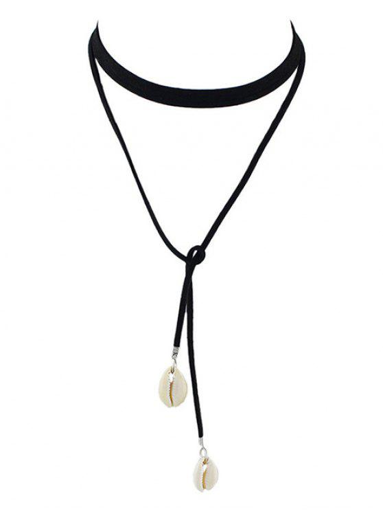 hot Conch Faux Leather Rope Choker Necklace - BLACK