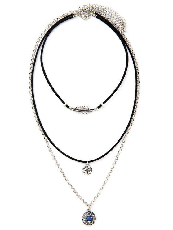 fancy Flower Tiered Necklace - SILVER