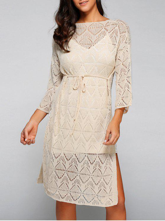 chic Side Slit Scoop Neck Hollow Out Knitted Dress - APRICOT ONE SIZE