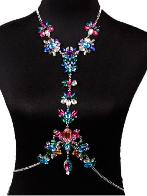 sale Faux Crystal Floral Leaf Body Chain - RED