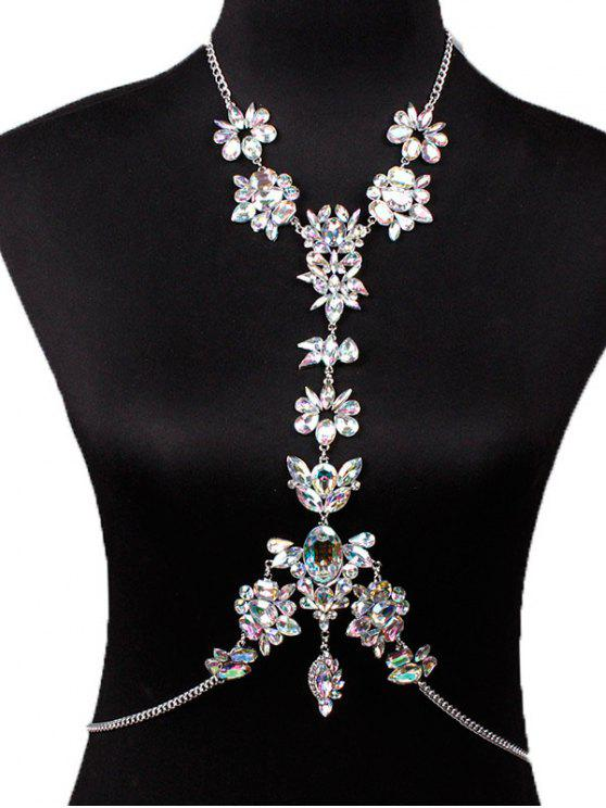Faux Crystal Floral Leaf Body Chain - Branco