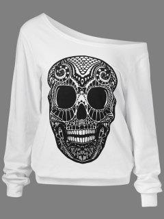 Oblique Shoulder Skulls Print Sweatshirt - White Xl