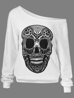 Oblique Shoulder Skulls Print Sweatshirt - White M