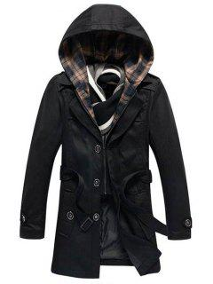 Detachable Hooded Epaulet And Belt Embellished Single-Breasted Coat - Black M