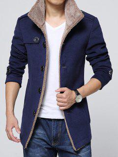 Epaulet Embellished Single-Breasted Turn-Down Collar Fleece Coat - Blue 3xl