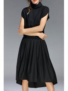 High Neck A Line Midi Dress - Black S