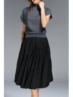 High Neck A Line Midi Dress - Gray S