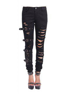 Ripped Skinny Denim Pants - Black Xs