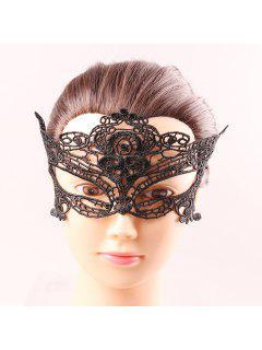 Upper Half Visage Déesse Noire Carnaval Dentelle Masquerade évider Masques - Noir