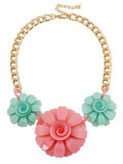 Acrylic Flower Pendant Necklace - Golden