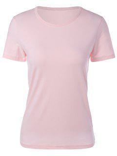 Col Rond Manches Courtes T-shirt - Rose PÂle Xl