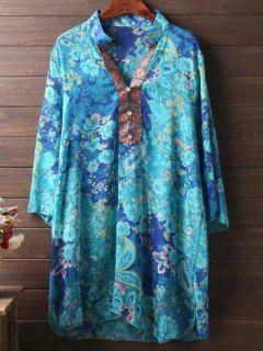Plus Size 3/4 Sleeve Floral Chiffon Dress - Lake Blue Xl