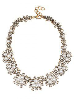 Faux Crystal Pearl Wedding Necklace Jewelry - White