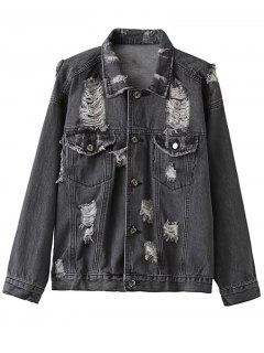 Distressed Denim Jacket - Black S