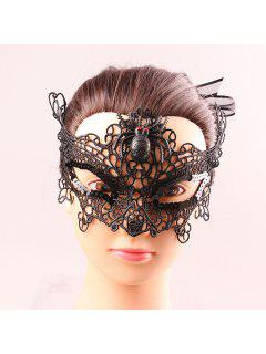 Spider Upper Half Face Black Lace Hollow Out Carnival Masquerade Masks - Black