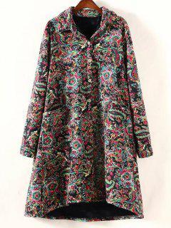 Retro Print Plus Size Fleece Coat - Black Xl