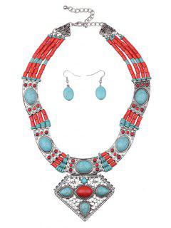 Geometric Faux Turquoise Bohemian Jewelry Set - Green