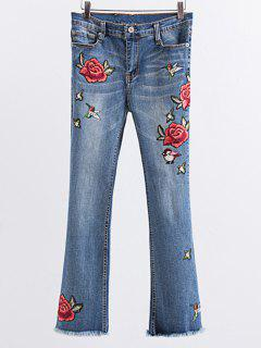 Rose Bordada Raída Boot Cut Jean - Azul Claro M