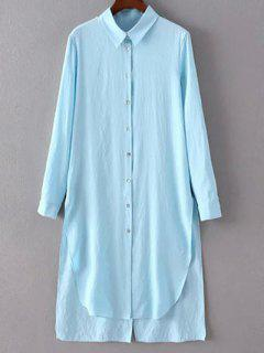 High Low Single-Breasted Tunic Shirt Dress - Light Blue S