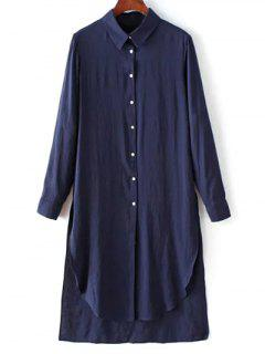 High Low Single-Breasted Tunic Shirt Dress - Purplish Blue S