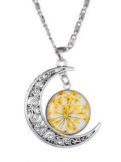 Moon Dry Floral Pendant Necklace - Yellow