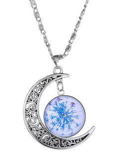 Moon Dry Floral Pendant Necklace - Blue