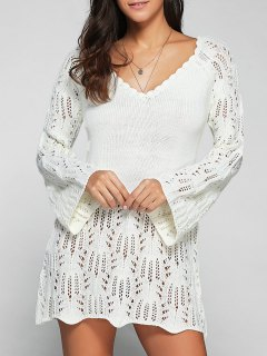 Flare Sleeve Plunging Neck Sweater Dress - Off-white