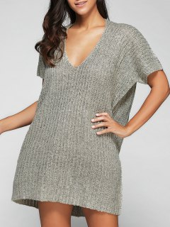 Loose Fitting V Neck Sweater Dress - Light Gray