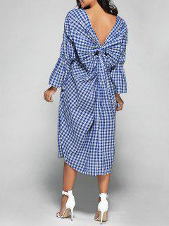V Neck Back Low Cut Checked Dress - Plaid