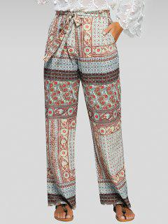 Belted Printed Palazzo Pants - M