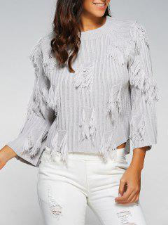 Col Rond Ripped Frangée Sweater - Gris Clair